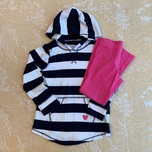 OshKosh B'gosh Navy Striped Hoodie Leggings 4T